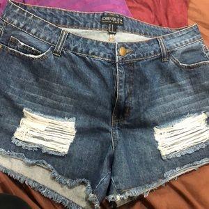 Denim Distressed Jean Shorts